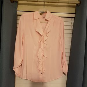 NY&C pale pink ruffle button up blouse